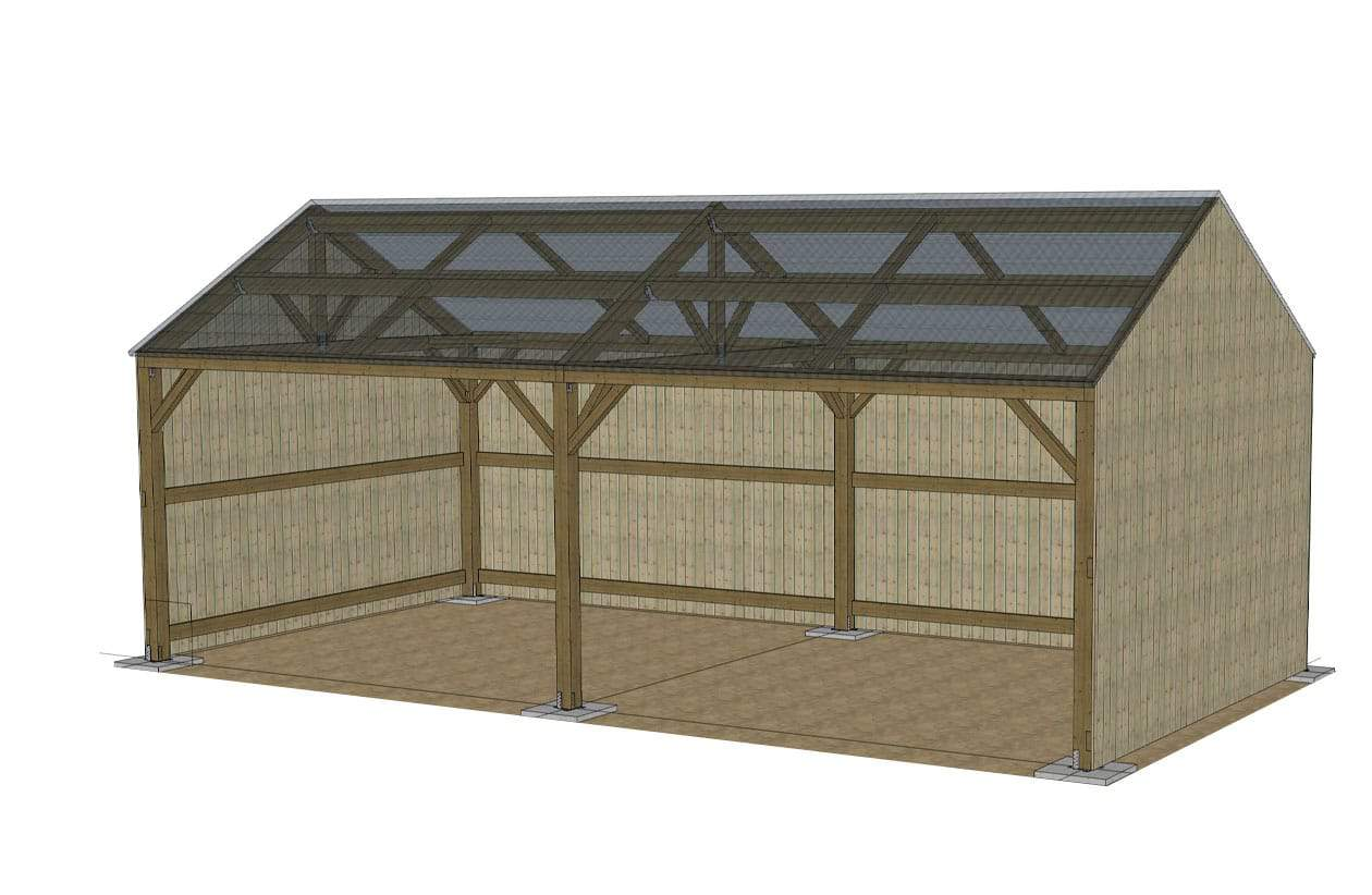 Construction Hangar Bois Prix hangar de stockage 5x10m, toiture fibrociment rouge - horse stop